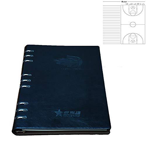 Faltendes Basketball-Trainingsplan-Taktik-Brett-Trainer-Notizbuch-hohes Gang-Leder Wasserdicht Coach Lieferungen Black