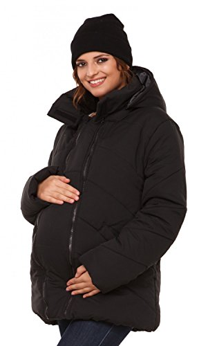 Umstandsjacke aus schwarzen Polyesterstoff mit Kapuze