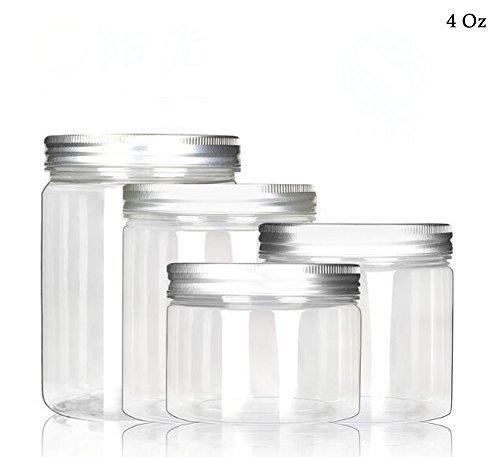 120ml / 4Oz Flacon en plastique transparent avec vis en aluminium pour la crème liquide pour aliments Stock Pack de 6