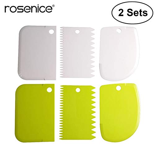 Petsdelite® 6Pcs Dough Bowl Scrapers 2 Sided Comb Curved Edge Flat Edge Flexible Scrapers for Food Processor Bowl Scraping Baking Bread Cake