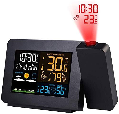 Knoijijuo Radio de la estación meteorológica con Sala de Sensor Externo termómetro termómetro higrómetro...