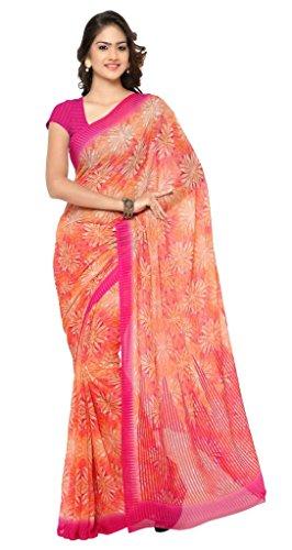 Vaamsi Chiffon Saree with Blouse Piece (RC3229_Orange_One Size)