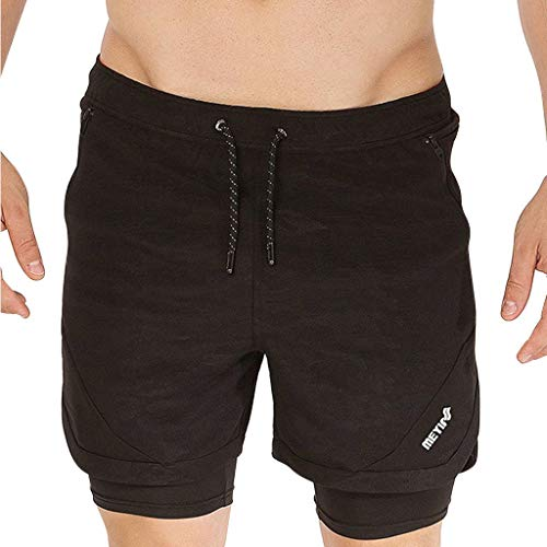 Supertong Sommer Shorts Herren Sport Shorts Elastische Taille Tunnelzug 2 in 1 Fitness Shorts Laufshorts Sommer Mode Freizeit Jungen Bodybuilding Trainingsshorts Kind Knit Pant