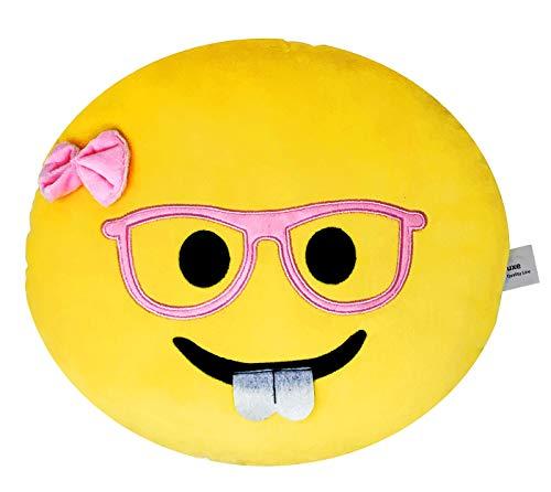 (Desire Deluxe Emoji Kissen bunter lächelnder Kackhaufen Nerd Mit Bogen Emoticon Rund Kissen Emoticon Gefüllt Plüsch Soft Spielzeug Deko Geld-zurück-Garantie.)