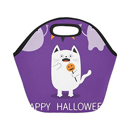 Isolierte Neopren-Lunchpaket Happy Halloween Spooky ängstliche Katze mit großen wiederverwendbaren thermischen dicken Mittagessen Tragetaschen Für Brotdosen Für den Außenbereich, Arbeit, Büro, Schule