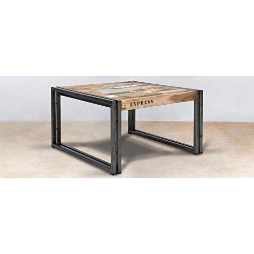 PierImport Table Basse carrée Industrielle Petit modèle CARAVELLE