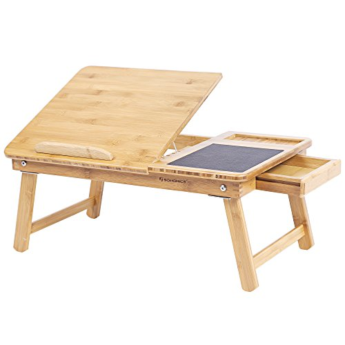 SONGMICS Mesa Plegable de Bambú Natural Tableta Ajustable con Hueco Almohadilla de...
