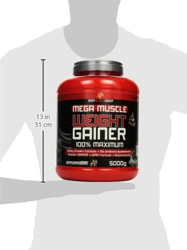 BWG Mega Muscle Weight Gainer 100% Maximum, Muscle Line, Mega Vanilla, Dose mit Dosierlöffel, 1er Pack (1 x 5000g)