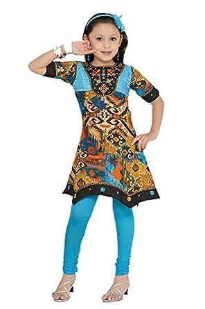 Hunny Bunny Multi color Ethnic Kurti with T.Blue Chudi Legging(11-12 Years)