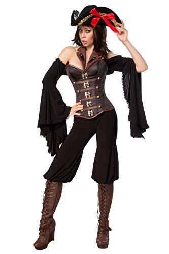 Piraten Hose Mit Kostüm Damen - Unbekannt Damen Piraten Bluse Kostüm Verkleidung mit Hose, Corsage, Hut und Spitzenbesatz in schwarz braun Trompetenärmel S