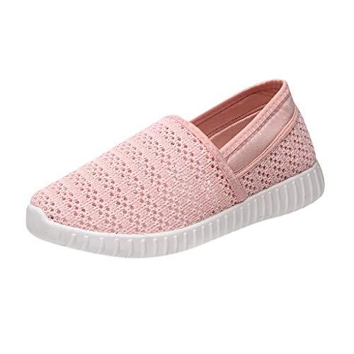 Fenverk Damen amerikanisch Flagge Herde römisch Unterhose Auf Hosenschuhe Keile Beiläufig Schuhe (Pink-02,39 EU) -