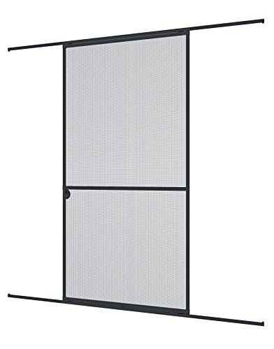 Windhager Insektenschutz Expert Schiebetür, Fliegengitter Aluminirumrahmen für Türen, 120 x 240 cm, anthrazit, 03844
