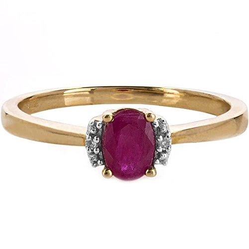 9ct Gold Oval Diamant Rubin Ring vrs1001-r-m