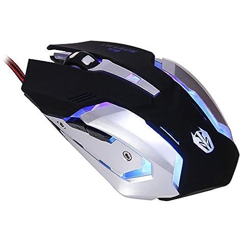 JUDYelc Mechanisches Gefühl Maus USB verdrahtet mit Cool Black Atem Led Steigung Lichter Ergonomische Gaming Mäuse - Strahlenschutz