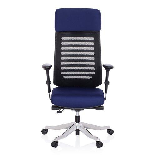 hjh OFFICE 640210 Schreibtisch-Stuhl ASGON Stoff Blau/Schwarz Ergonomisch Höhenverstellbar Armlehne Netz-Rücken