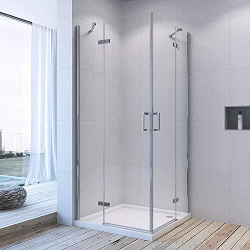 Duschkabine Eckeinstieg 80 x 80 x 195 cm mit Pendeltüren aus 6 mm ESG-Glas mit Nano Besch