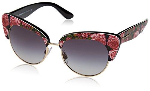 Dolce & Gabbana Damen 0DG4277 31278G 52 Sonnenbrille, Schwarz (Print Rose On Black/Gradient),