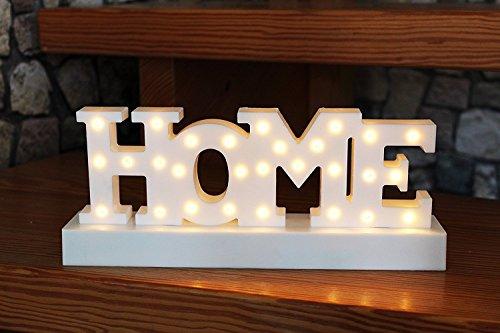 HOME - LED - SCHRIFTZUG , mit 28 LED - warm weiss hell leuchtend - in wertigem Karton verpackt - eine tolle Geschenk - Idee für einen lieben Menschen - Geburtstag , Weihnachten , Namenstag (HOME) (Schriftzug)