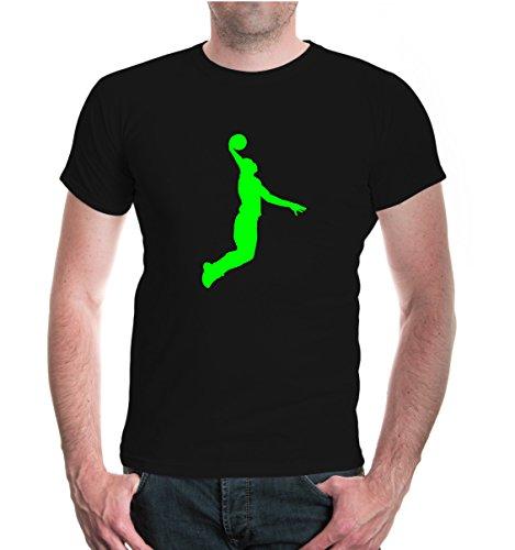 buXsbaum® Herren Unisex Kurzarm T-Shirt bedruckt Basketball Dunker | Basketballschuhe Fanshirt Trikot | M black-neongreen Schwarz