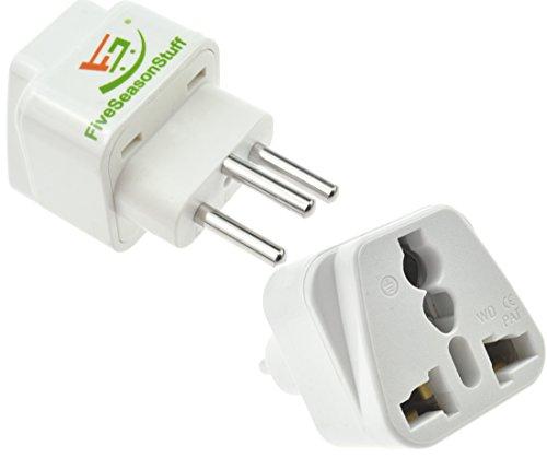 FiveSeasonStuff 1 x Reisestecker/Reiseadapter/Travel Plug/Adapter aus Deutschland/Europa Schutzkontakt Reiseadapter für Liechtenstein und Schweiz Typ J (Weiß)