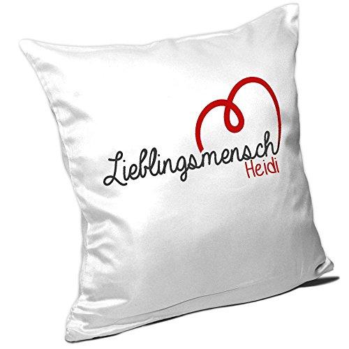 Kissen mit Namen Heidi und schönem Lieblingsmensch-Motiv zum Valentinstag - Namenskissen - Kuschelkissen - Schmusekissen