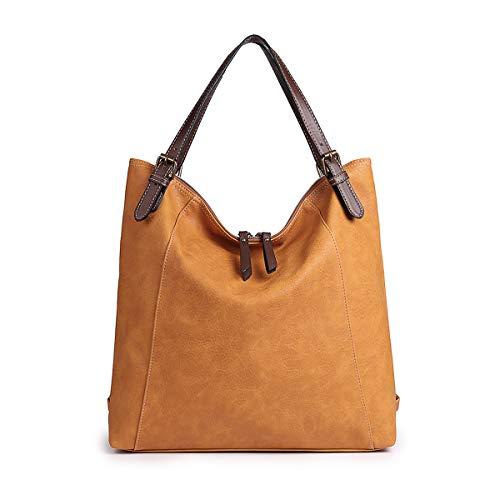 Damen Umhängetasche, Brenice Rindsleder Tote Handtaschen Vintage Multifunktions Rucksack Schultertaschen Crossbody Tasche für Frauen Kamel - Zwei-ton-reißverschluss Tote