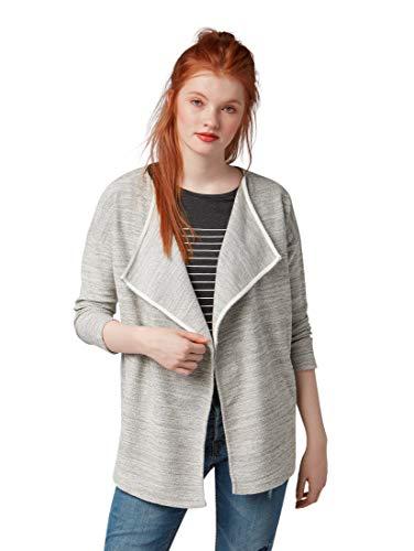 TOM TAILOR Denim für Frauen Strick & Sweatshirts Melierter Cardigan Light Silver Melange, M (Womens Cozy Cardigan)