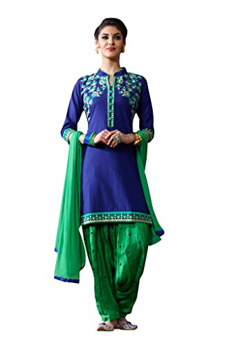 Kvsfab Blue & Green Cambric Cotton Embroiderd Patiala Readymade Suit