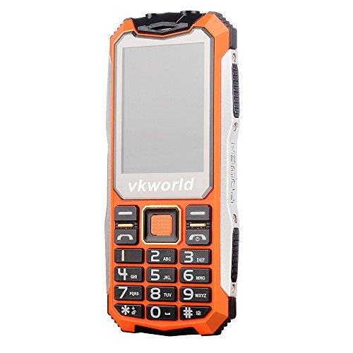 DingLong VKWorld Stone V3S IP54Dual SIM 2,4 Zoll Langer Bereitschaftshandy, Wasserdichter und Staubdichter Anti-Fall-englische Tastatur Dual-LED-Handymobil (Orange) (Entsperren Ohne Vertrag-handys)
