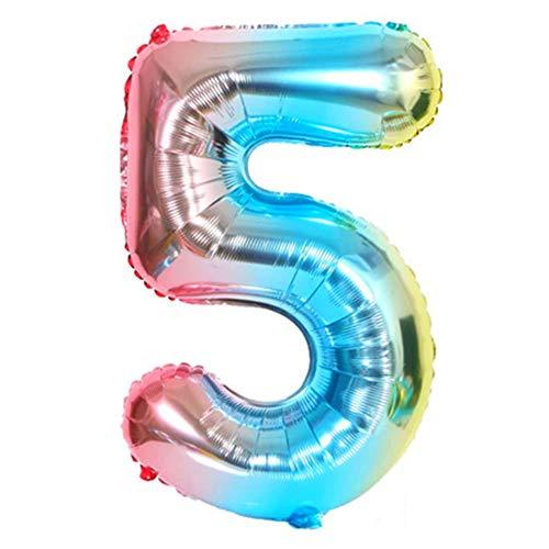 DIWULI, XXL Zahlen-Ballons, Zahl 5, blau bunt Schillernde Regenbogen Luftballons, Zahlenluftballons, Folien-Luftballons Nummer Nr Jahre, Folien-Ballons 5. Geburtstag, Party, Dekoration, Geschenk-Deko