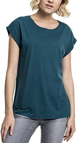 Urban Classics Damen T-Shirt Ladies Extended Shoulder Tee, Farbe teal, Größe S