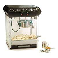 Elite Deluxe EPM-650 Maxi-Matic 4 Ounce Old-Fashioned Tabletop Popcorn Popper Machine with Accessories, Black