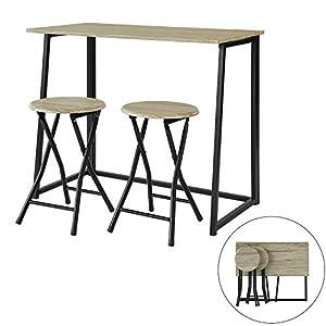 SoBuy OGT18-N 3-teilig Esstisch Klapptisch mit 2 Hockern Gartensitzgruppe Essgruppe Küchentisch Balkontisch klappbar…