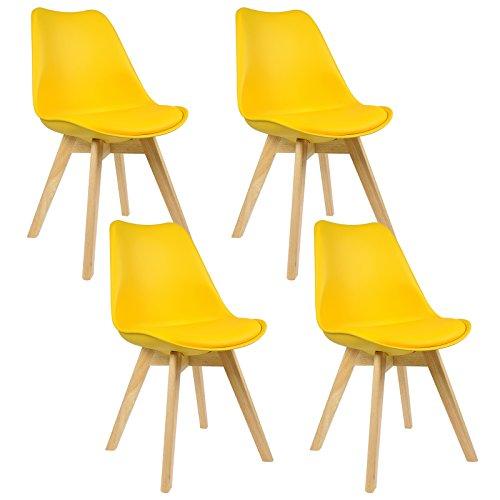 WOLTU 4er Set Esszimmerstühle Küchenstuhl Design Stuhl Esszimmerstuhl Kunstleder Holz Neu Design Gelb BH29gb-4 (Gelb Kunstleder)