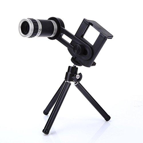 asiproper 8x Zoom Kamera Teleskop Objektiv + Halterung Stativ Teleobjektiv für Handy Univ (Teleskop-sicherheits-kamera)