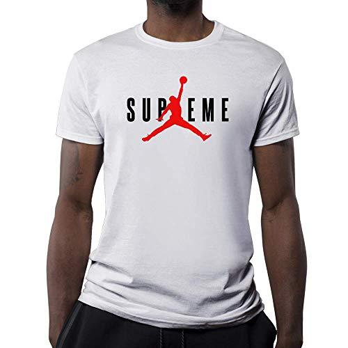 T-shirt supreme jordan bianca-nera (replica) da 9/11 anni a xxl (s, bianco)