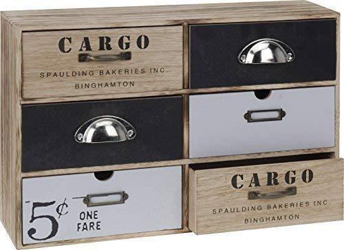 DRULINE Mini Kommode CARGO Schränkchen Kleiner Schrank 6 Schubladen Shabby Chic Aufbewahrungsschrank