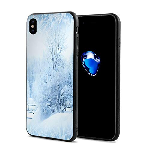 ZZHOO Compatible with iPhone X Case,Winter Trees In Wonderland Theme Christmas New Year Scenery Freezing ICY Weather,Soft Rubber Phone Case Cover