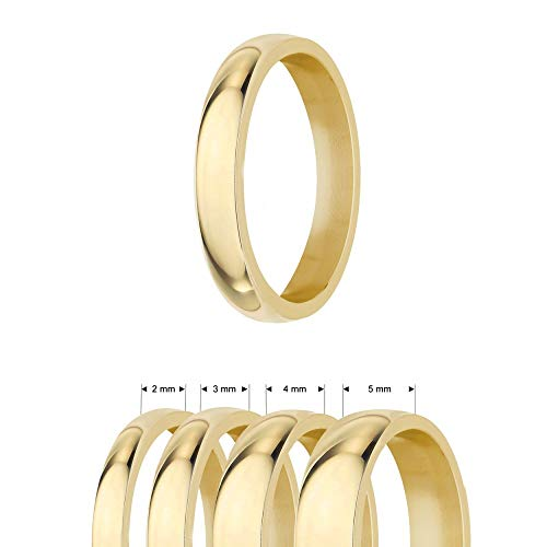 Ring - Edelstahl - 4 Breiten - Glänzend - Gold [47.] - Breite: 5mm - Ringgröße: 60 (5 Damen-ehering Größe)