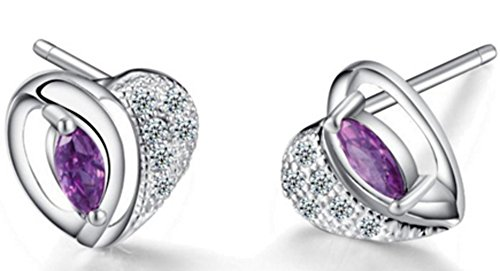 SaySure - S925 Solid Silver Purple Crystal Heart Earring