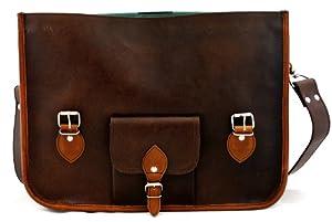 L'ORIENT EXPRESS (L) INDUS', Bolso bandolera con diseño de cartera escolar vintage fabricado en piel apropiado para A4 y ordenador, color marrón oscuro PAUL MARIUS Vintage & Retro