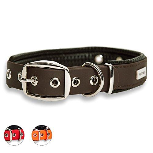 PetTec Hundehalsband aus Trioflex™ mit Polsterung, Braun, Wetterfest, Wasserabweisend, Robust (Braun Hund Dog Halsband)