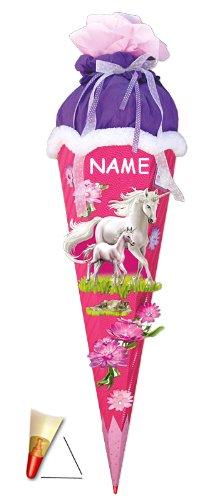 """Preisvergleich Produktbild BASTELSET - Schultüte - """" Einhorn mit Fohlen """" - 85 cm - incl. NAMEN - mit Holzspitze - Zuckertüte Roth ALLE Größen - 6 eckig Pferd Pferde Einhörner rosa - Komplettset / Schultüten - pink"""