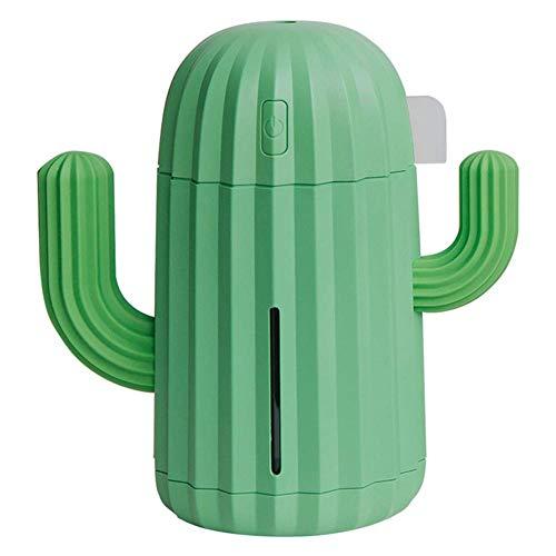 SparY Humidificador Planta Frío Mist Mini Cactus Forma Luz LED Hogar Oficina Aroma Difusor Regalo Humedad Silencioso B Recargable Aroma Purificador de Aire (Verde) - Verde, Free Size