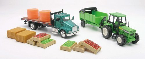 Farm Utility Truck Playset with Tractor, Dump Trailer, Tanks, Vegetable Crates and Hay Bales - 1:43 scale by New Ray