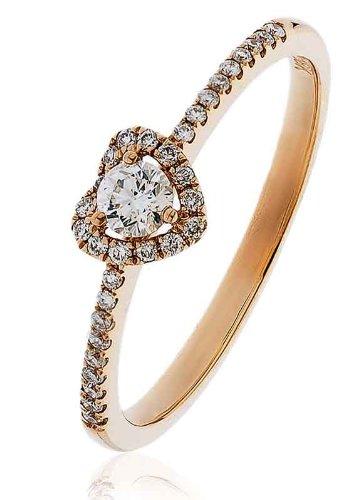 0.25ct Certificato G/VS2Round Brilliant Centro con a forma di cuore Halo Diamante Anello con diamante spalle in Oro Rosa 18K, oro rosa, 56 (17.8), cod. FL-3325
