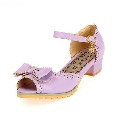 LvYuan Damen-Sandalen-Hochzeit Lässig Party & Festivität-PU-Blockabsatz-Komfort Knöchelriemen Blumen-Mädchen-Schuhe Tiny Heels für Teens-Blau Purple