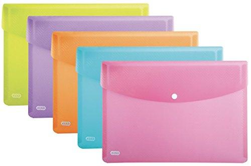 ELBA Brieftaschen Urban DIN A4, Abgerundete Ecken, Druckknopf-Verschluß, Packung mit 5 Taschen, aus Kunststoff, transluzent, Sortiert (A4-tasche)