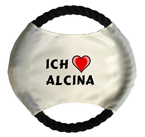 Personalisierter Hundefrisbee mit Aufschrift Ich liebe Alcina (Vorname/Zuname/Spitzname)