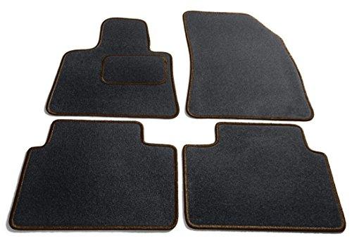 Preisvergleich Produktbild JediMats 55820 Korfu Maßgeschneiderte Fußmatte für Ihr Auto, Schwarz, Dunkelbraun Umrandung